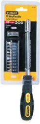 STANLEY 0-62-508 Šroubovák pružný s bity-Šroubovák flexibilní 1/4 na oříšky, adaptér, sada bitů