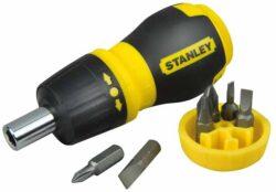 STANLEY 0-66-358 Šroubovák vícebitový ráčnový krátký-Ráčnový vícebitový šroubovák, krátký + 6 bitů
